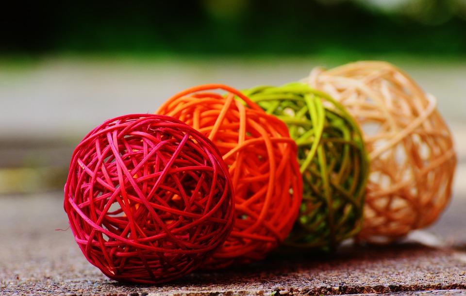 Balls, Wood, Braid, Decoration, Colorful