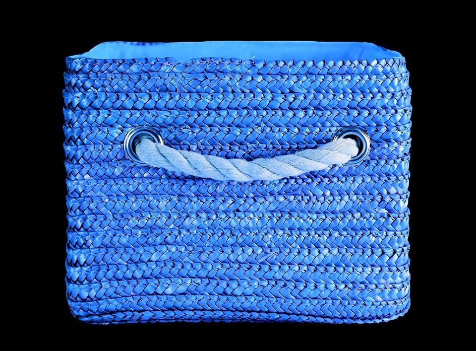 Basket, Blue, Colorful, Storage, Decoration