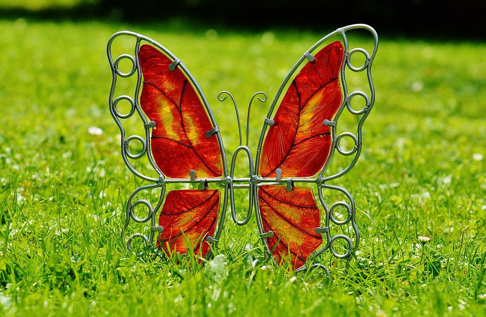Butterfly, Metal, Glass, Decoration, Colorful, Meadow
