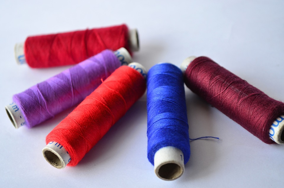 Threads, Blue, Brown, Red, Purple, Colorful, Fabric