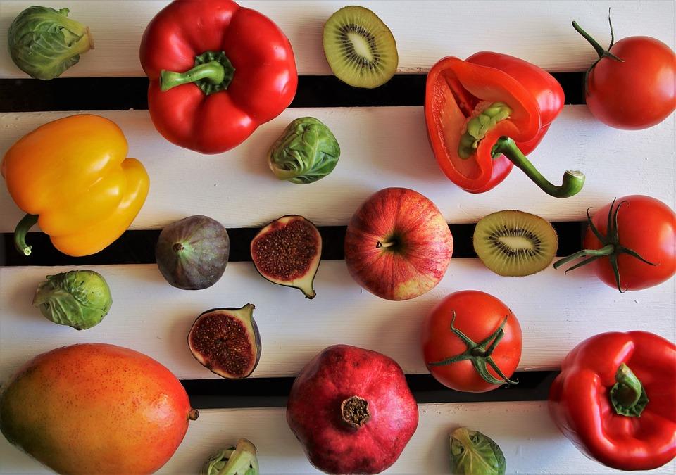 Colorful, Tasty, Paprika, Kiwi, Vegetables, Figs, Fruit