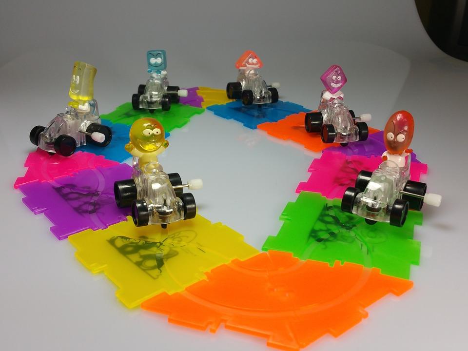 Racecourse, Racing Car, Figures, Colorful, Children
