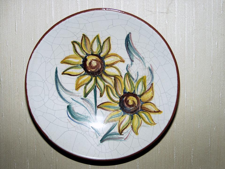 Ceramic, Plate, Decoration, Flowers, Colorful, Fragile