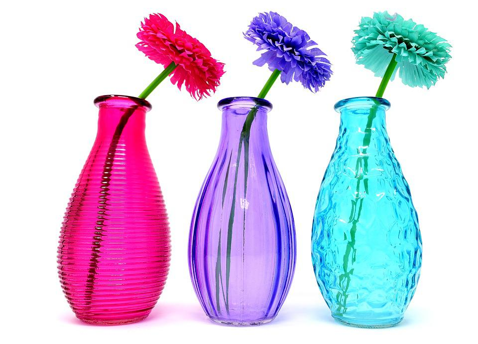 Free Photo Colorful Flowers Glass Vases Decoration Max Pixel