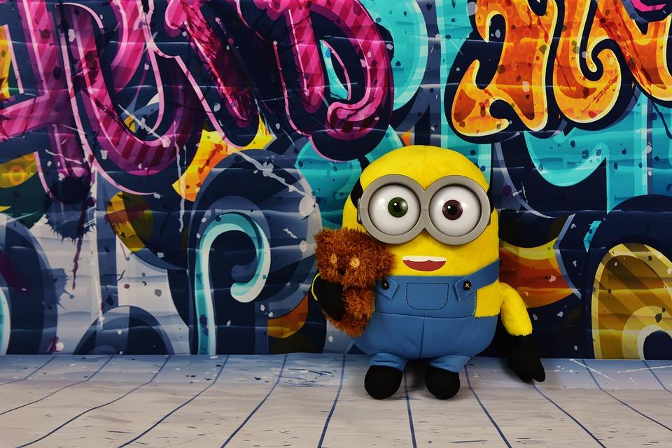 Graffiti Colorful Minion Teddy Funny Soft Toy Fig