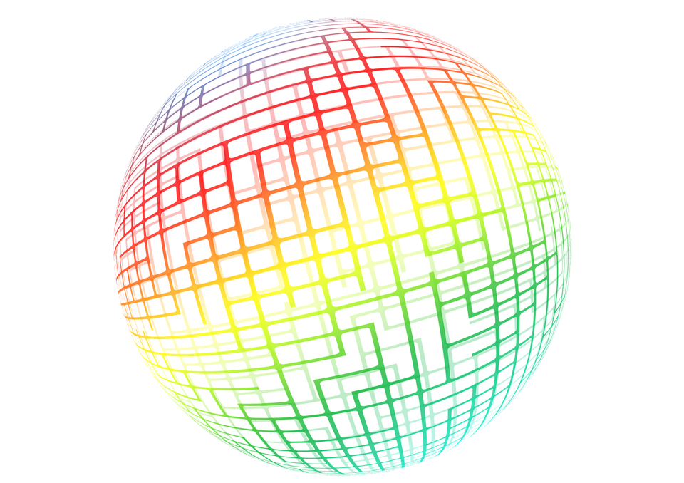 Ball, Round, Web, Grid, Colorful