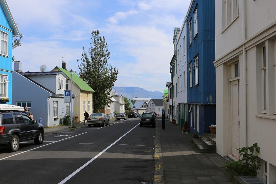Colorful Houses, Street, Rejkjavik, City, Cars, Sky
