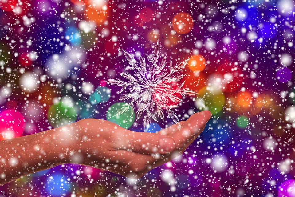 Ice Crystal, Hand, Bokeh, Light, Colorful, Color, Ice