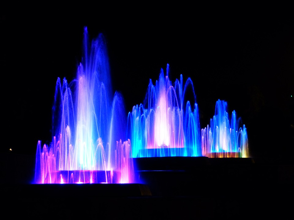 Water, Fountain, Illuminated, Colorful, Water Games