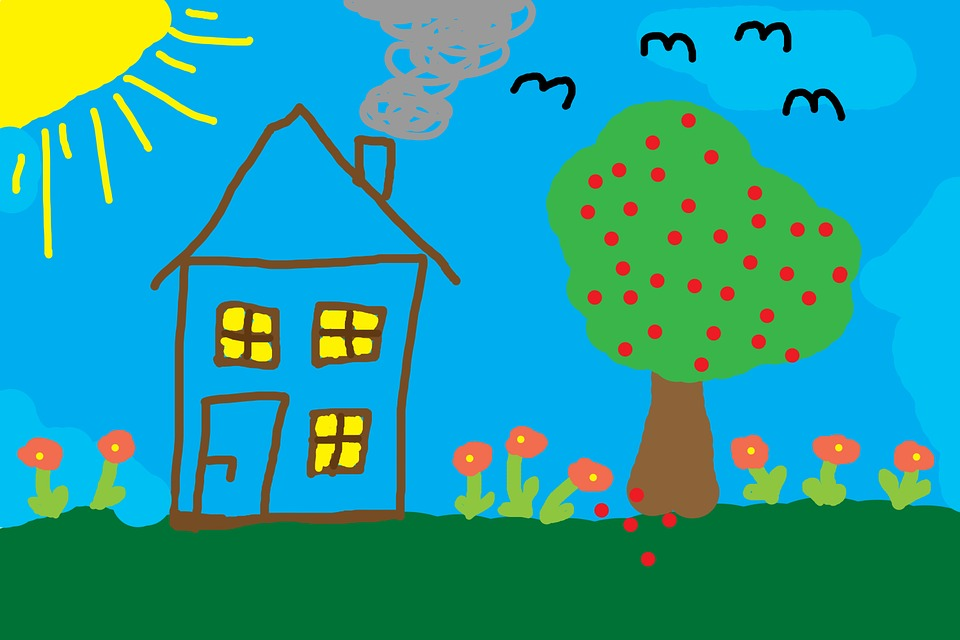 Children Drawing, Home, Tree, Meadow, Colorful