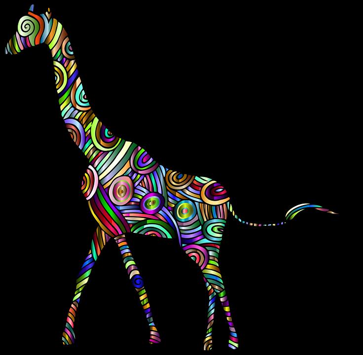 Giraffe, Animal, Africa, Colorful, Prismatic, Chromatic
