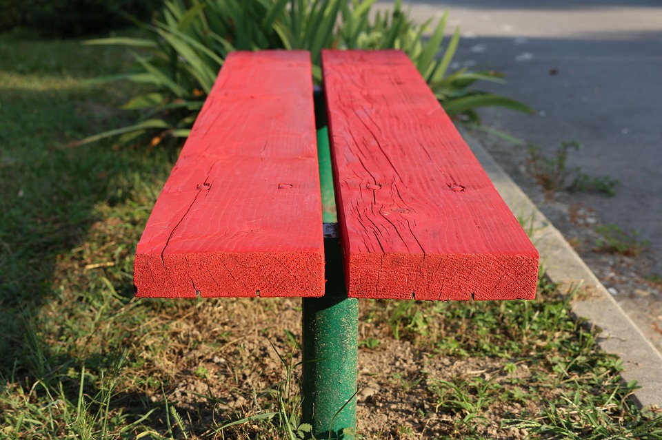 Red Bench, Park, Green, Seat, Rest, Wooden, Colorful