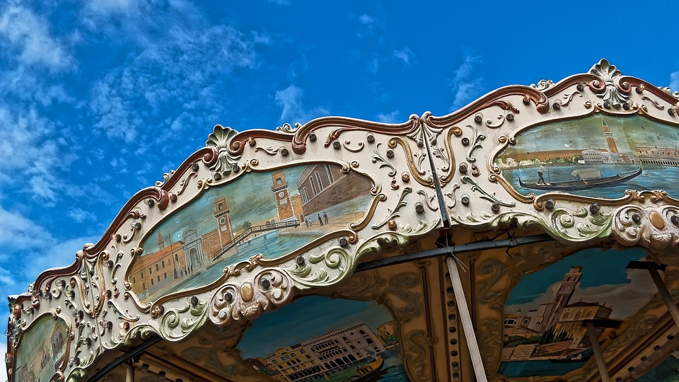 Carousel, Color, Turn, Blue, Sky, Colorful