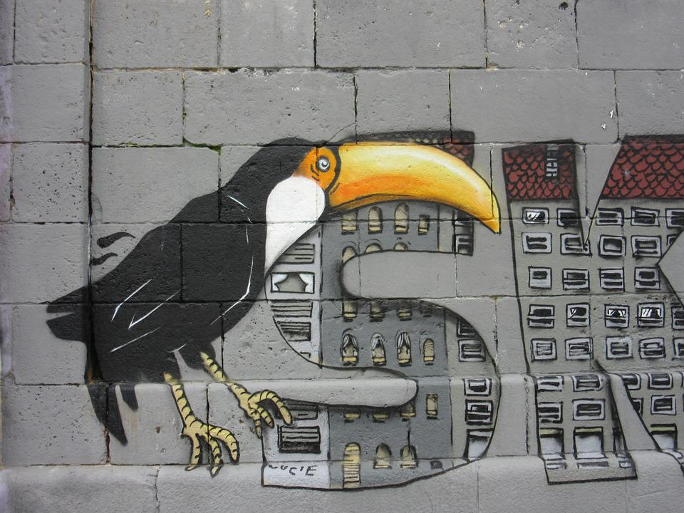 Toucan, Graffiti, Wall, Art, Colorful, Sprayer, Bird