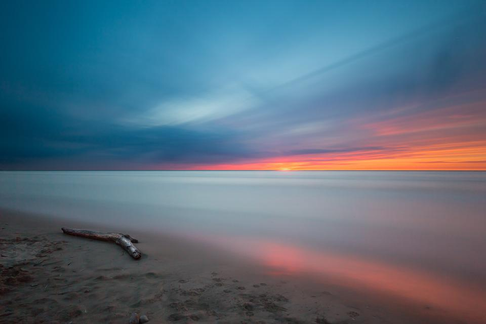 Beach, Driftwood, Sunset, Ocean, Calm Waters, Colorful