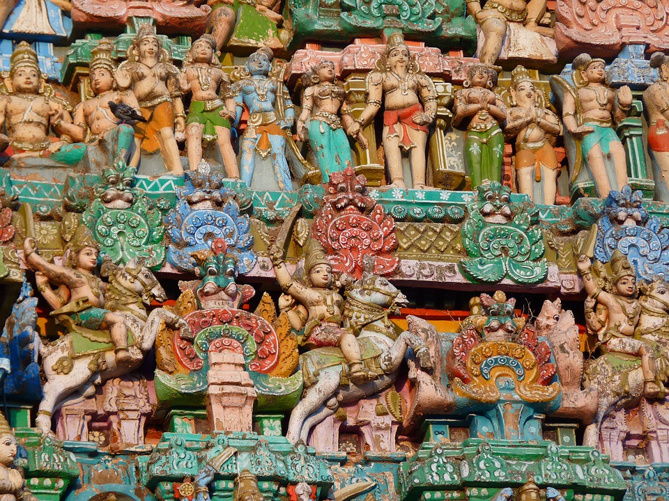 Temple Figures, Temple, Colorful, India