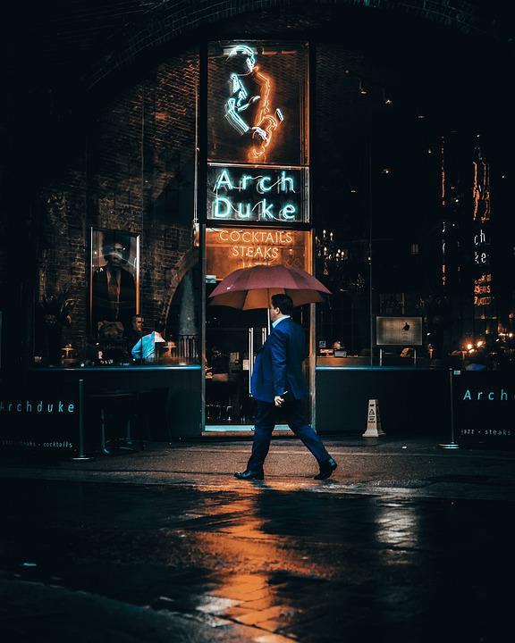 Umbrella, Neon, Colorful, Night, People, Urban, Man