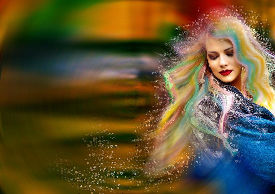 Woman, Blonde, Hair, Painted, Colorful, Colors