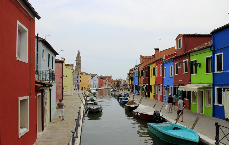 Burano, Italy, Channel, Boats, Colors, Venice, Houses