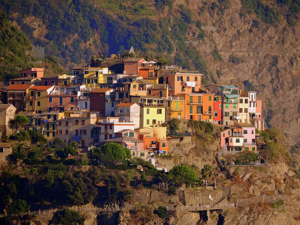 Houses, Mountain, Corniglia, Colors, Cinque Terre