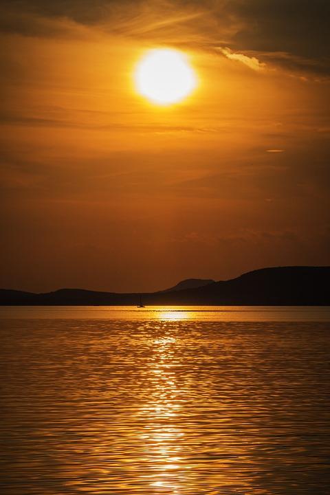 Lake Balaton, Lake, Water, Sunset, Landscape, Colors