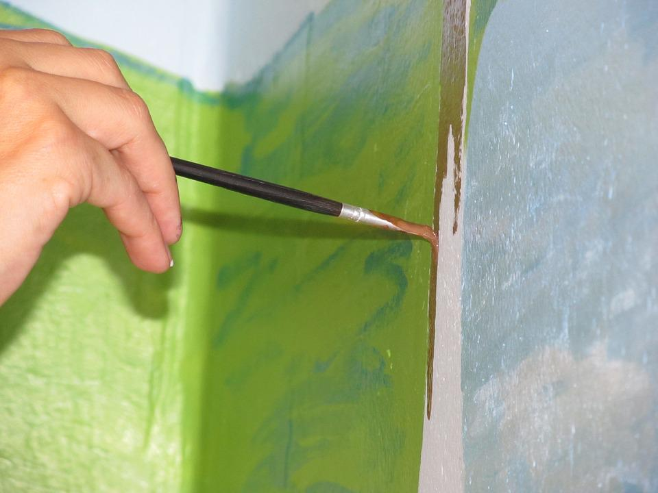 Painting, Brush, Hand, Colors, Wall, Green