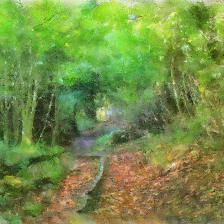 Art, Summer, Landscape, Painting, Colors, Green