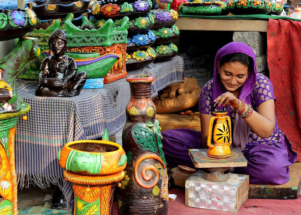 Woman, Indian, Painting, Pottery, Colors, For Sale