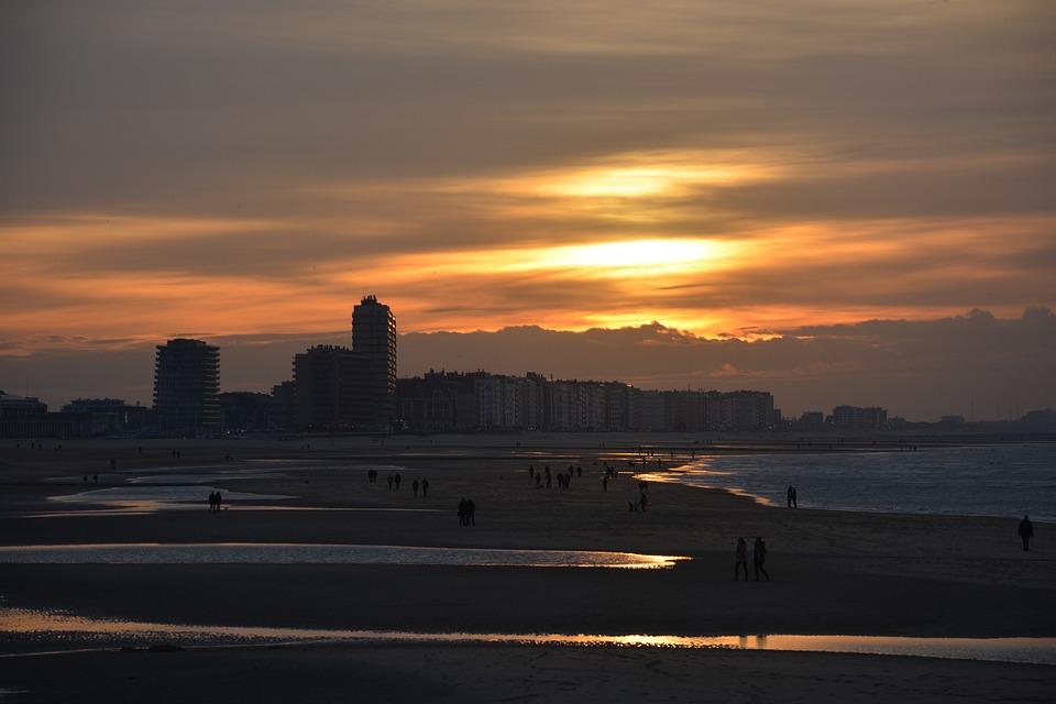 Oostende, Sunset, Sea, Orange, Sun, Colors, Vote