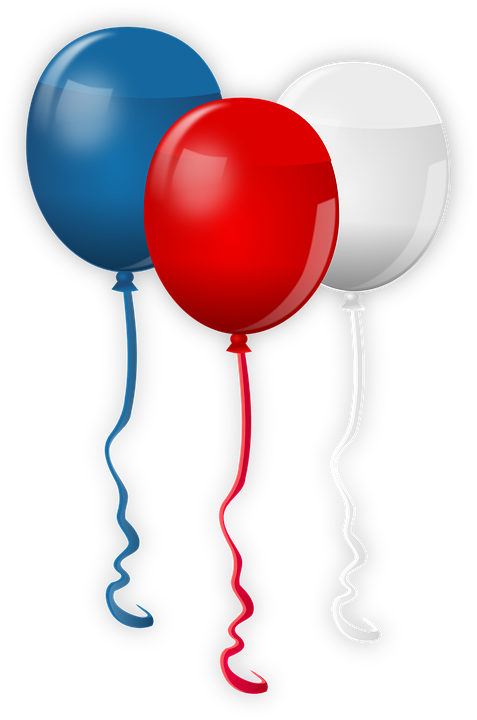 Balloons, Colors, Usa, America, Blue, Red, White