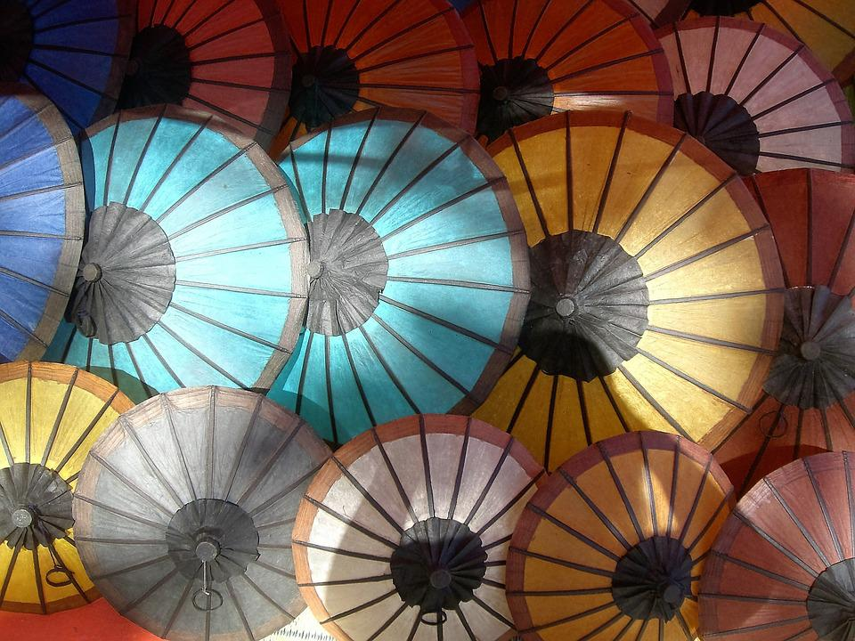 Parasols, Market, Coloured, Around, Circles