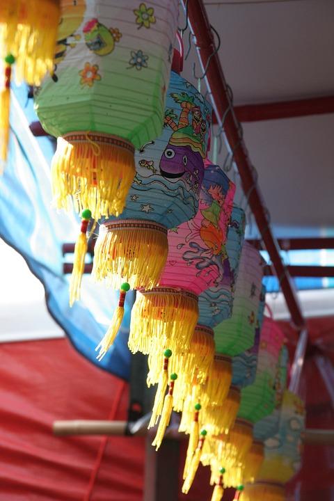 Hanging Lanterns, Colourful, Festive