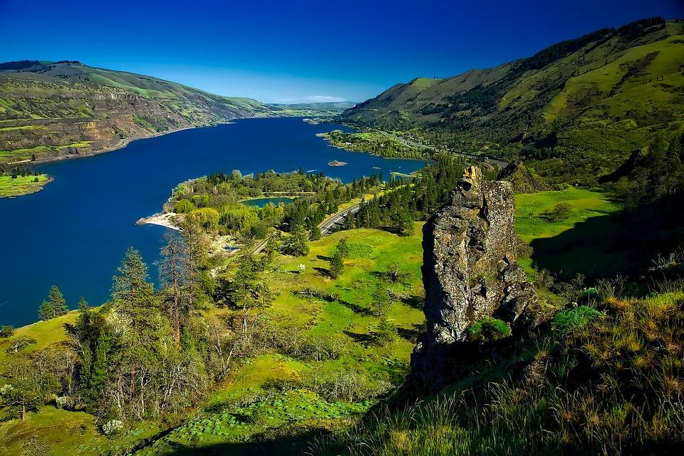 Columbia River, Oregon, Gorge, Valley, Landscape