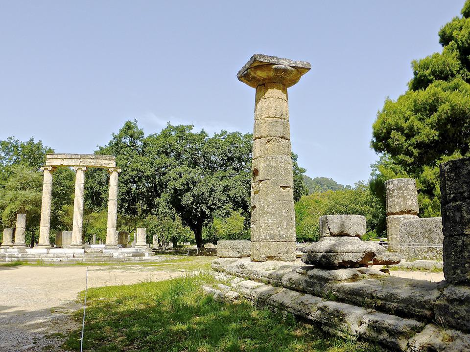 Column, Olympia, Corinthian, Stone, Archeology