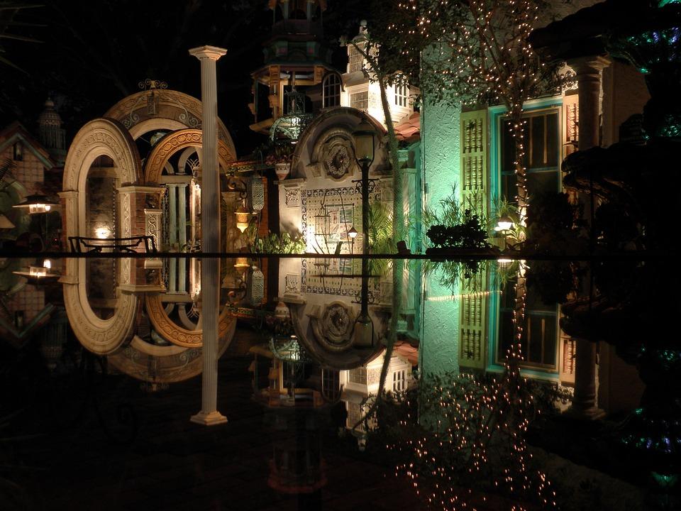 Sarasota, Sights, Night, Evening, Reflection, Column