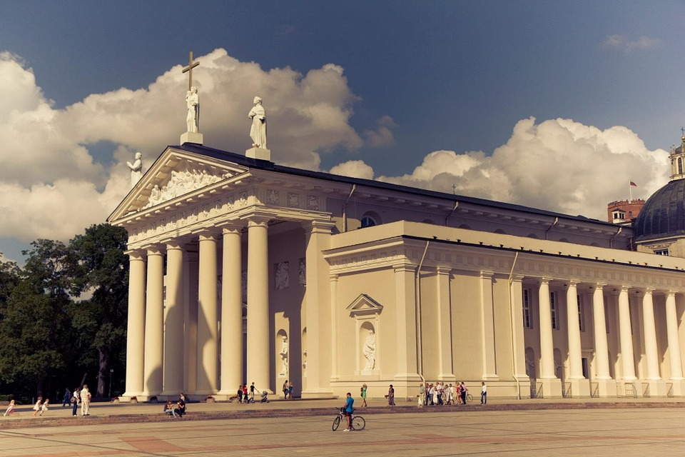 Building, Lithuania, Columns, Architecture