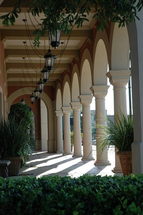 Columns, Houston, Architecture, Structure, Corridor