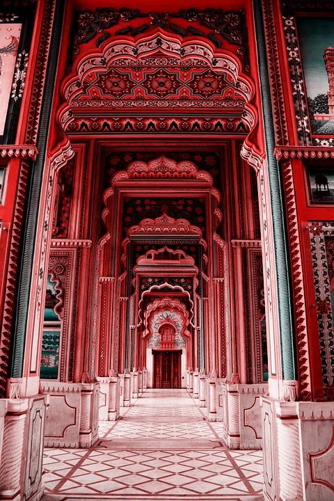 Corridor, Hallway, Building, Columns, Pillars