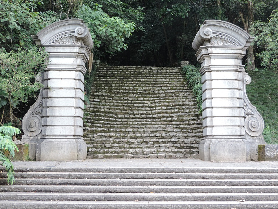 Portal, Stone, Ladder, Columns