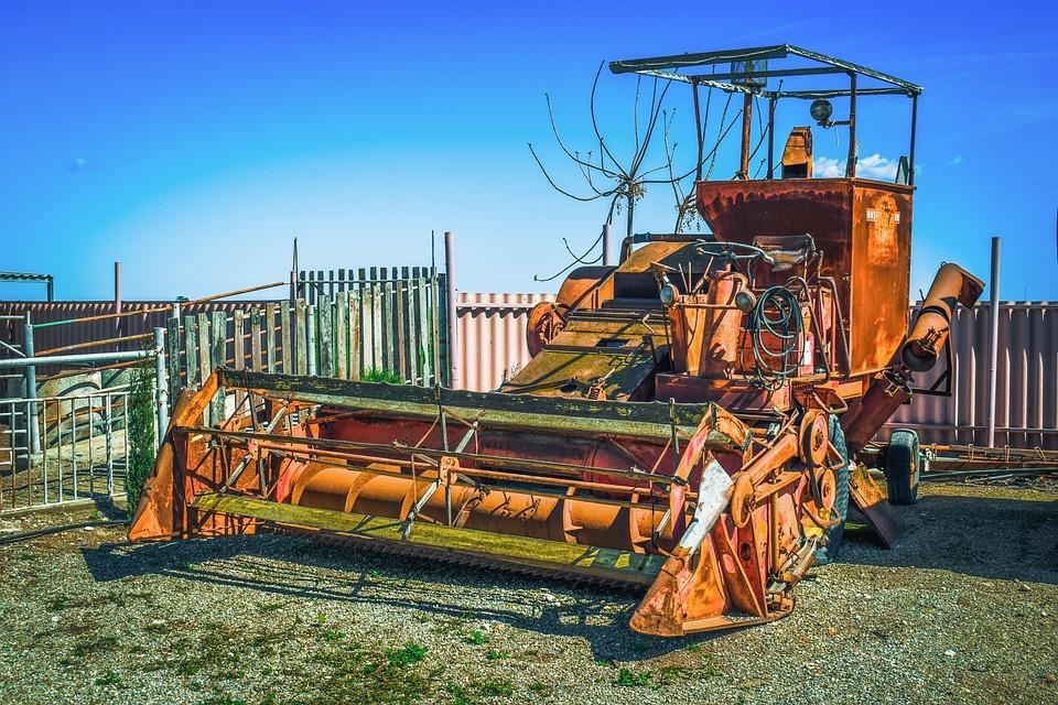 Combine, Rusty, Old, Equipment, Machine, Abandoned
