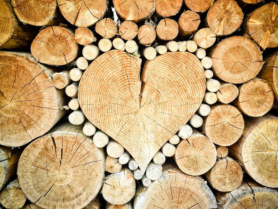 Heart, Wood, Logs, Combs Thread Cutting, Wood Pile