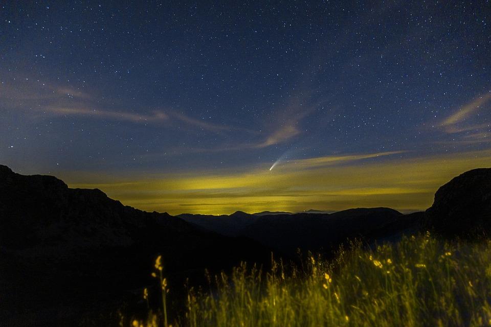 Comet, Sky, Stars, Night