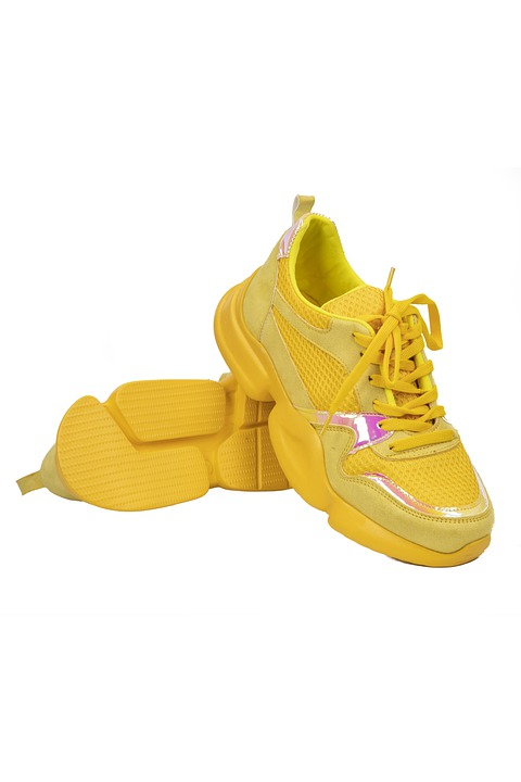 Yellow, Sports, Running, Shoes, Foot, Comfortable