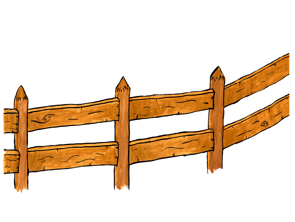 Fence, Wood, Watercolor, Isolated, Handpainted, Comic