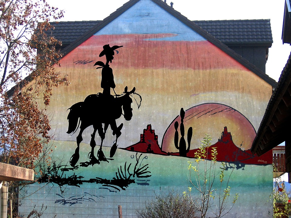 Home, Painting, Wall, Mural, Lucky Luke, Comic, Fig