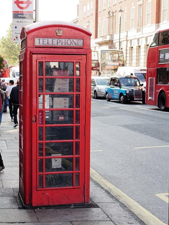 Phone Booth, London, Red, British, Communication, Urban