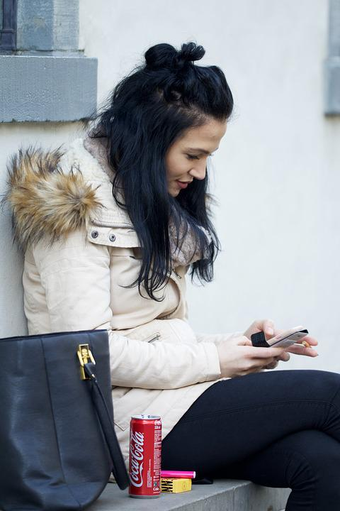 Young Woman, Break, Communication, Waiting, Sitting