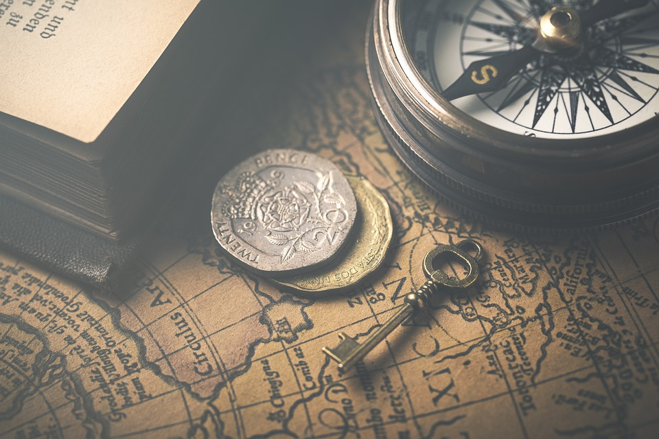 Vintage, Map, Compass, Atlas, Coins, Key, Book, Retro