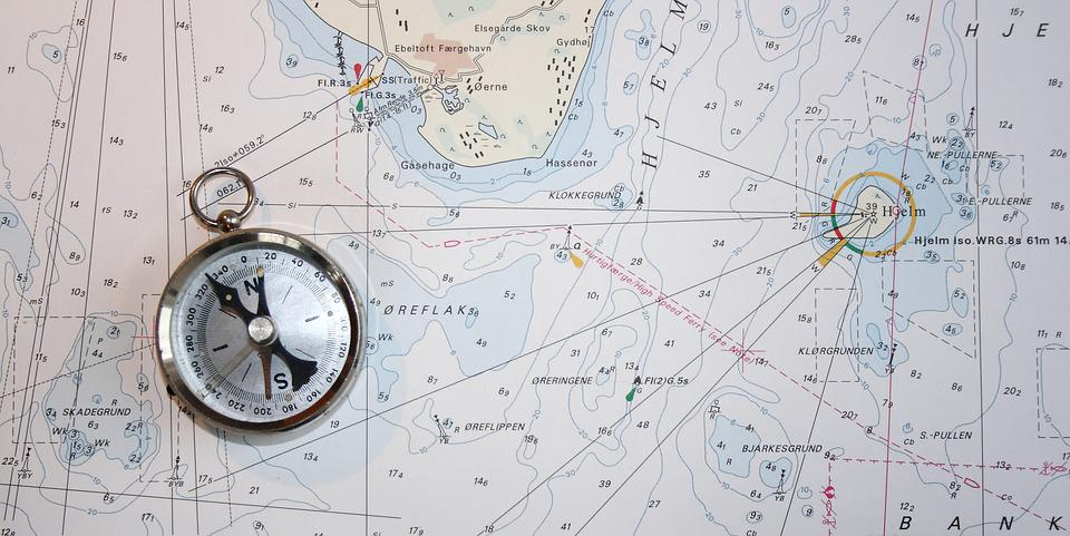Maritim, Chart, Compass, North