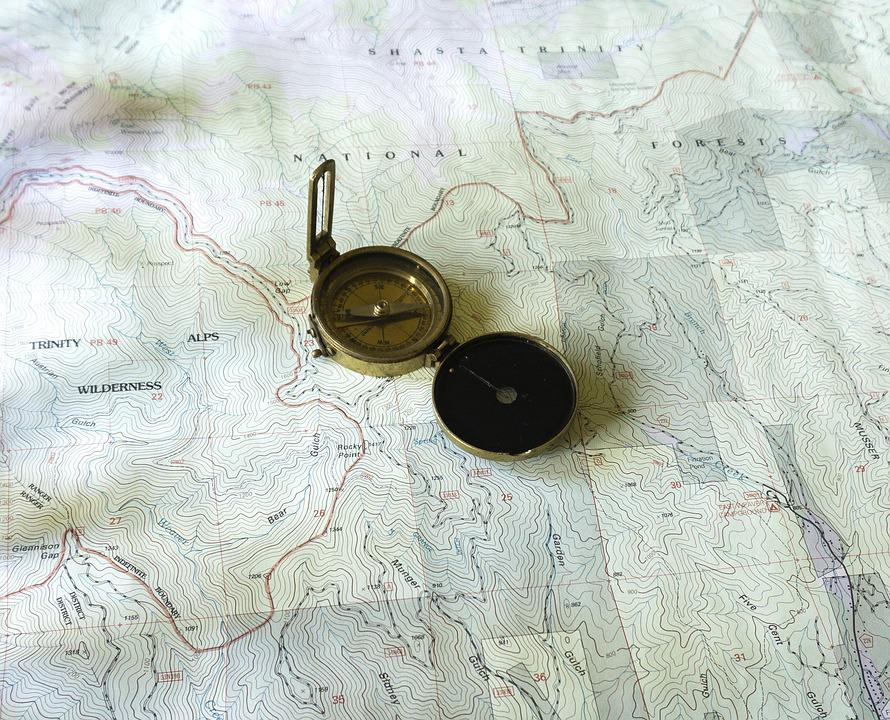 Map, Topo Map, Topographic Map, Compass, Brass Compass